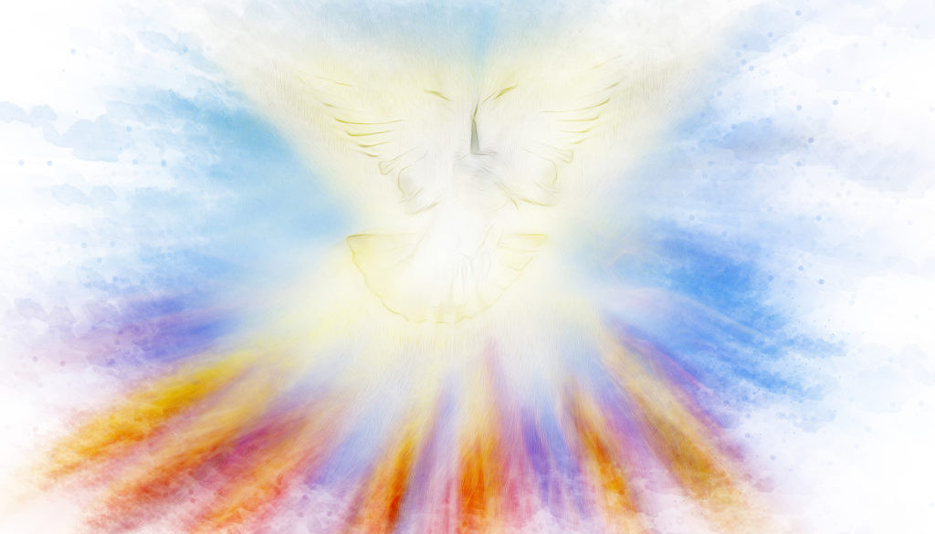 Holy Spirit, Pentecost or Confirmation symbol with a dove, and b